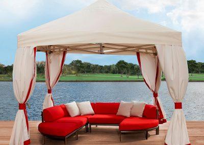 FiberBuilt Deluxe Tent w White & Red Side Panels
