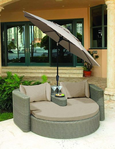 FiberBuilt Market Tilt Umbrella & Custom Cushions on double lounge